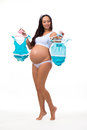 Pregnant woman wondering gender of baby: boy, girl or twins Royalty Free Stock Photo