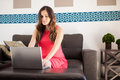 Pregnant woman working at home Royalty Free Stock Photo