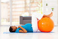Pregnant woman workout Royalty Free Stock Image
