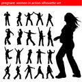Pregnant women in action silhouette vector Royalty Free Stock Photo