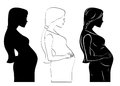 Pregnant women an illustration is a woman for silhouette outline stencil Stock Images
