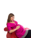 Pregnant women in pink color dresses Stock Photography