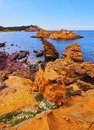 Pregonda bay on minorca cala menorca balearic islands spain Stock Photo
