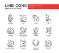 Prehistoric age- line design icons set