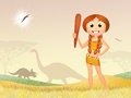 Prehistoric girl funny illustration of Stock Images