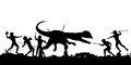 Prehistoric hunt editable vector silhouette of cavemen fighting a dilophosaurus dinosaur with all elements as separate objects Royalty Free Stock Photo