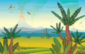 Prehistoric landscape with dinosaurs, volcano and plants.