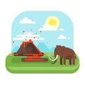 Prehistoric landscape and volcano with mammoth