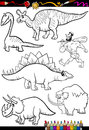 Prehistoric set for coloring book or page cartoon illustration of black and white dinosaurs and animals characters children Royalty Free Stock Image