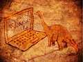 Prehistoric web petroglyph with computer and dinosaur Stock Photos