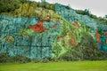 Prehistory wall in vinales cuba murale de la prehistoria painted on rocks Stock Photo