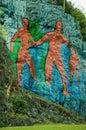 Prehistory wall in vinales cuba murale de la prehistoria painted on rocks Royalty Free Stock Photos