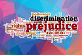 Prejudice word cloud with abstract background concept Stock Photo
