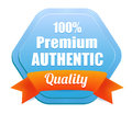 Premium authentic quality badge blue percent with an orange ribbon Stock Photos