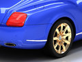 Premium blue car with gold wheels Royalty Free Stock Images