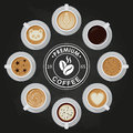 Premium Coffee cups, americano, latte, espresso, cappuccino, macchiato, mocha, art, drawings on coffee crema, view top