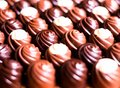 Premium collection of dark, milk and white chocolate sweets, selective focus. Chocolate background. Macro food photography. Collec Royalty Free Stock Photo