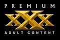 Premium content textured and beveled xxx text on black background Royalty Free Stock Image