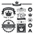 Premium crown badges element collection set of royal and labels this design contains a stylish ornament banners emblems Royalty Free Stock Photos