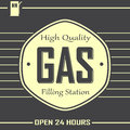 Premium gas service illustration of a filling in hours in retro old design Stock Images