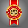 Premium golden and red best seller label with choice text around it on white background vector Stock Photos