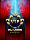 Premium invitation card. Vip party invite with golden crown and open red curtains. Grand opening banner vector template
