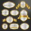 Premium labels set collection luxury over black background Royalty Free Stock Images