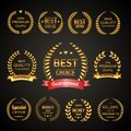Premium laurel wreath set golden sale quality best choice exclusive emblems isolated on black background vector illustration Royalty Free Stock Photo