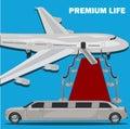 Premium life, limousine and red carpet concept, flat design, vector illustration