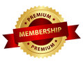 Premium membership badge stamp golden with red ribbon and text Stock Photography
