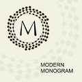 Premium modern monogram emblem logo with a conceptual wreath spiral Stock Images