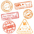 Premium pork rubber stamps made with stamp illustrations Stock Photography