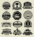 Premium quality badges black vector retro set Royalty Free Stock Photography