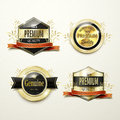 Premium quality gorgeous golden labels collection over beige Royalty Free Stock Images