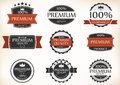 Premium quality and guarantee labels with retro vintage style illustration of Stock Photos