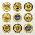 Premium quality round gold labels collection over beige Royalty Free Stock Photos