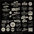 Premium quality and satisfaction guarantee label collection with black grungy design vintage styled Royalty Free Stock Photos