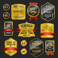 Premium quality sparkling golden labels collection over black Royalty Free Stock Photography