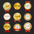 Premium quality sparkling golden labels collection over black Stock Images