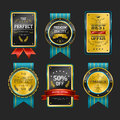 Premium quality sparkling golden labels collection over black Royalty Free Stock Image