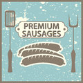 Premium sausages vintage style poster with Royalty Free Stock Image