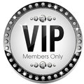 Premium vip round icon glossy for web sites Stock Photography