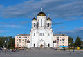 Preobrazhenskaya Square with church in Serov Royalty Free Stock Image