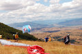Preparation for enjoyment paragliding in macedonia Stock Image