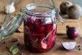 Preparation of fermented beets & x28;beet kvass& x29; in a jar