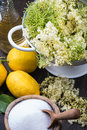 Preparation of homemade elderflower cordial on wooden table Stock Photography