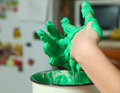 Preparation of modelling plasticine from flour and salt and gree hands with material clay Stock Image