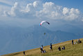Preparation for paragliding in italy Royalty Free Stock Photos