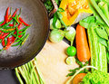 Preparation to asian traditional cooking wok and vegetables Stock Image