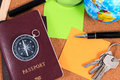 Preparation for travel. Set of trip stuff. Royalty Free Stock Photo